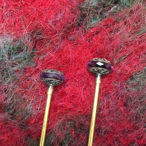 Accessories - Antique amethyst gold filled hat pins